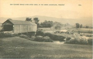 Otter Creek and Covered Bridge, Green Mountains, Vermont B&W Postcard