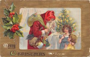 F5/ Santa Claus Merry Christmas Holiday Postcard c1908 Children Tree Toys 3