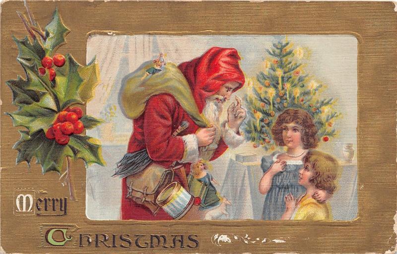 F5/ Santa Claus Merry Christmas Holiday Postcard c1908 Children Tree Toys 3