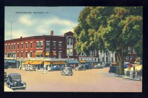 Westerly, Rhode Island/RI Postcard, Dixon Square, Old Cars