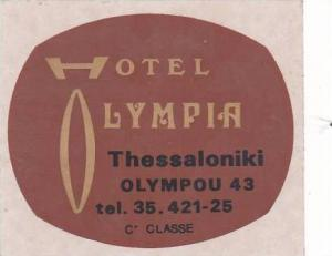 GREECE THESSALONIKI HOTEL OLYMPIA VINTAGE LUGGAGE LABEL