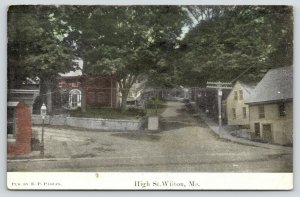 Wilton Maine~High Street~Homes on Y Intersection~Uphill~Sidewalk Walls~1915 PC