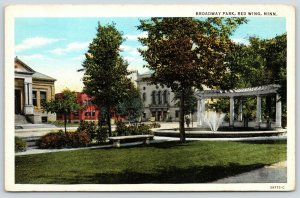 Red Wing Minnesota~Broadway Park~Fountain & Pergola~Sheldon Theatre~1920s PC
