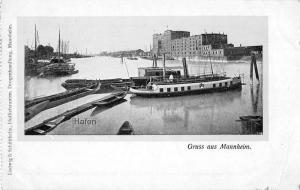 Mannheim Germany Harbor View Boats Antique Postcard J77023
