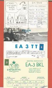 QSL AMATEUR RADIO CARDS – SPAIN – 3 DIFFERENT CARDS – 1980-1982