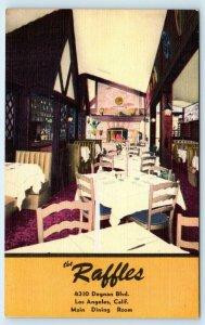 LOS ANGELES, CA California THE RAFFLES Restaurant c1940s Roadside Linen Postcard
