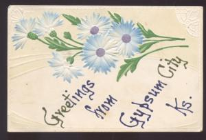 GREETINGS FROM GYPSUM CITY KANSAS BLUE FLOWER VINTAGE POSTCARD CARLTON KANS.
