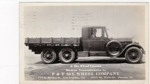 RP: LOS ANGELES , Ca , 1929 : F&F Six Wheel Company Lincoln Truck