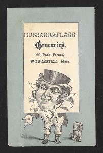 VICTORIAN TRADE CARD Hubbard & Flagg Groceries Big Head Man