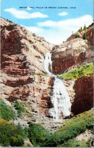 Bridal Veil Falls in Provo Canyon UT Postcard unused 1930s/40s