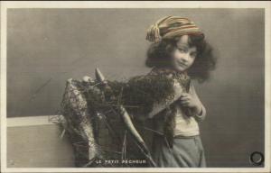 Little Boy Long Hair Fisherman LE PETIT PECHEUR Tinted Real Photo Postcard