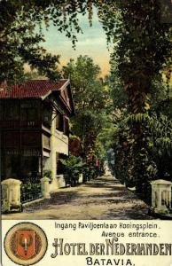 indonesia, JAVA BATAVIA, Entrance Hotel der Nederlanden (1910s) Postcard