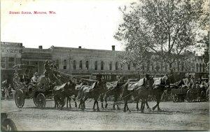 Vtg Litho Carte Postale 1910s Dirt Street Scène Avec Coach Bradford & Co Editeur