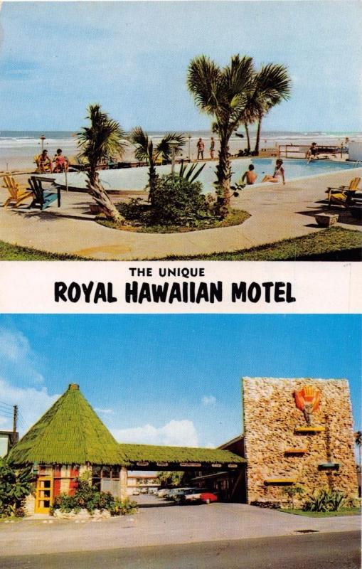 Daytona Beach Florida The Unique Royal Hawaiian Motel S Atlantic Postcard 1960s