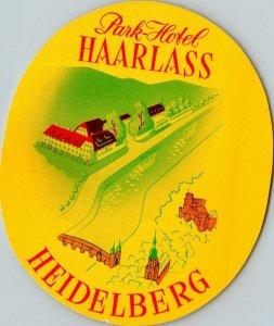 Germany Heidelberg Park Hotel Haarlass Vintage Luggage Label sk4825