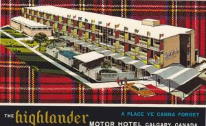 Illustration of The Highlander Motor Hotel, Plaid Background, Calgary, Albert...