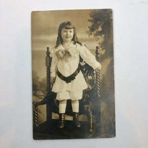 GIRL DRESSED LAVISHLY AZO RPPC Cute Antique VICTORIAN STUDIO NORFOLK VA Photo