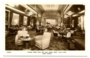 Cunard White Star Line - RMS Queen Mary,   Cabin Lounge  *RPPC