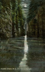 NY - Ausable Chasm. The Pool by Moonlight