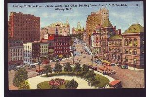 P1593 vintage unused postcard old cars buses etc state st. albany new york