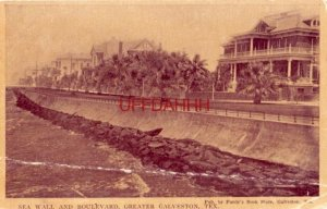 SEA WALL AND BOULEVARD, GREATER GALVESTON, TEX. pub by Purdy's Book Store