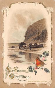 New Year~Chubby Bird on Holly~Farmer~Hay Wagon~Wood Snow Border~John Winsch
