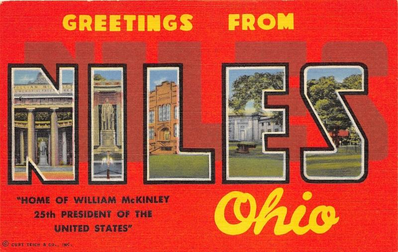 Niles Ohio Large Letter Linen Postcard~McKinley Memorial-High School-Parks