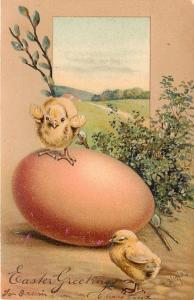 PFB Easter~Little Chicks on Huge Pink Egg~Pussy Willows~Country Meadow~Emboss