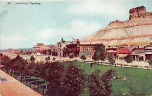 Green River Wyoming~Street Scene~Meat Market~Bakery~Drug Store~Park(?)~c1910 Pc