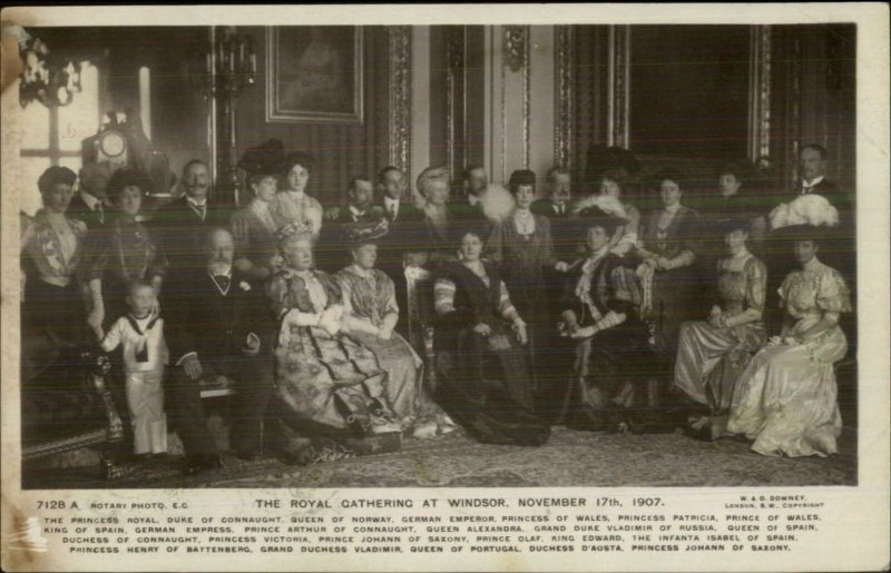 Royal Gathering Windsor 1907 Real Photo Postcard - Multiple Royals