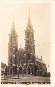 Dyersville Iowa~St Francis Church~I Get Inside Once in A While~Ha!~c1914 RPPC