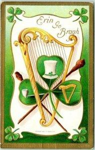 Vintage 1910 ST. PATRICK'S DAY Embossed Postcard ERIN GO BRAGH Harp Pipe Hat
