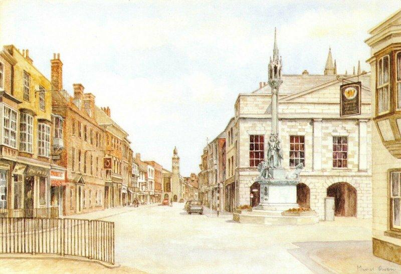 Isle of Wight Art Postcard, High Street, Newport by Muriel Owen FM9