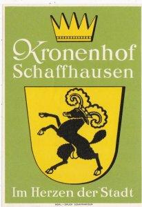 Switzerland Schaffhausen Kronenhof Vintage Luggage Label sk4198