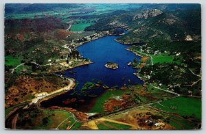 Thousand Oaks California~Lake Sherwood Birdseye~Island~Highways~1960s Postcard