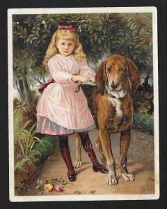 VICTORIAN TRADE CARD Jayne's Tonic Girl with her Dog