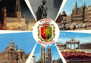 Belgium Souvenir from Brussels Town Hall Church Vintage Cars Statue Postcard