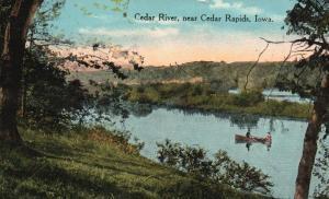 near Cedar Falls, Iowa, IA, Cedar River, Rowboat, 1917 Vintage Postcard g848