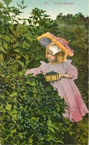 Artist impression Girl Picking berries #219 Souvenir C-1910 Postcard 20-5066