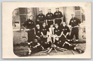 Enfield IL~High School? Baseball Stars Team Photo~Young Trainer*~RPPC c1909 PC