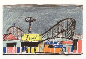 Edwin La Dell Coney Island Freds Diner Painting Postcard