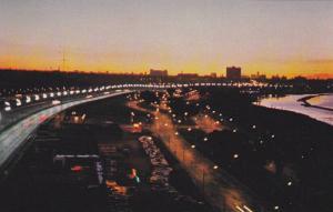 Night Skyline, Lakeshore Blvd., and Lake Ontario,  Toronto,  Ontario, Canada,...