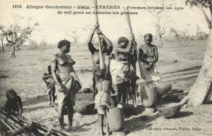 CPA Senegal Ethnic Nude Fortier - 1273. Céréres, Femmes brisant les épis (71127)