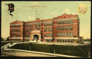 Postcard Used Lincoln High School Seattle WA LB