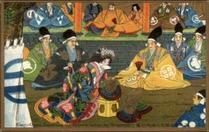 Japan Japanese History Folklore Art c1910 PC KAOYO-GOZEN EXAMINES HELMETS gfz