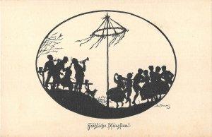US344 Frohliche Pfingsten Musicians, Dancers Happy Easter art nouveau artist sig