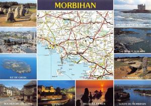 Postcard Map & Multiview, Morbihan, Places of Interest, France B77