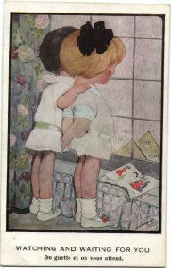 PC CPA HILDA COWHAM ARTIST SIGNED WATCHING AND WAITING   (b26345)