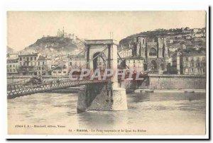 Vienna Old Postcard The suspension bridge and wharf du Rhone