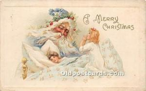 Santa Claus Postcard Old Vintage Christmas Post Card Blue Suit 1915